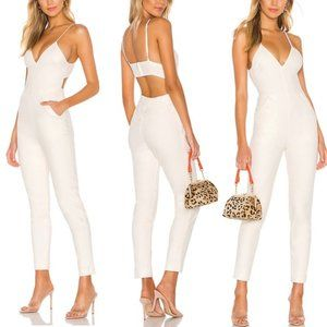 NWT NBD Madison Jumpsuit Linen Revolve Star White